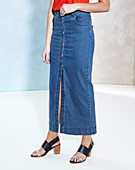 Denim Button-Through Maxi Skirt