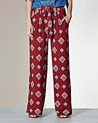 Printed Wide Leg Jersey Trousers - Short