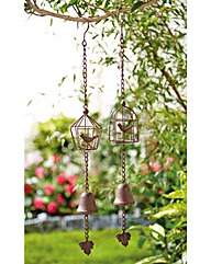 Cast Iron Bridcage Garden Bells Set of 2