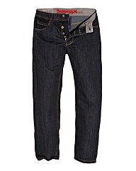 Jacamo Black Button Fly Jean 35In Leg