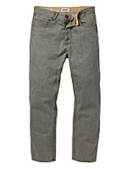 Jacamo Grey Button Fly Jean 35In Leg