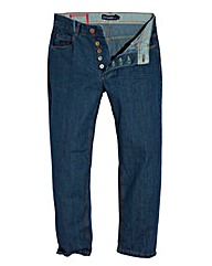 Jacamo Stonewash Button Jean 33In Leg