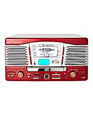Retro Turntable with CD MP3 Radio - Red