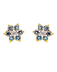 9ct Blue Topaz and Diamond Earring