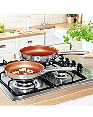 2 Piece Cermalon Copper Frying Pans