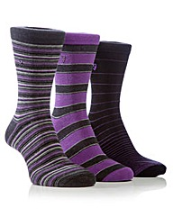 3 Pair Farah Stripe Jaquard Socks