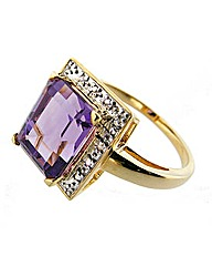 Gold Plated Diamond and Amethyst Ring