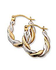 9 Carat Gold 2-Colour Hoop Earrings