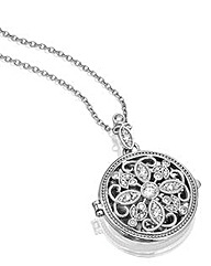 Diamonfire Sterling Silver Round Locket