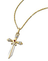 9ct Gold Ruby & Diamond Sword Pendant