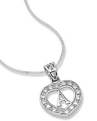 Sterling Silver Initial Heart Pendant