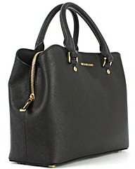 Michael Kors Leather Mid Satchel Bag