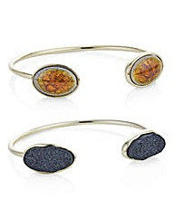 Mood gold druzy stone bangle pack