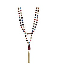 Mood Multi colour beaded tassel necklace