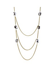 Mood Grey bead gold section necklace