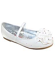 Sparkle Club White Satin Ballerinas