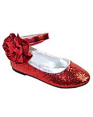 Sparkle Club Red Glitter Ballerinas
