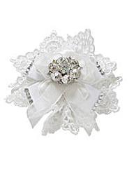 Perfect Lace Trim Diamante Bow Detailing