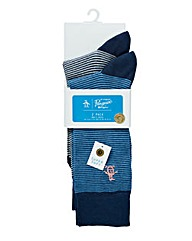 ORIGINAL PENGUIN 2 PK MINI STRIPE SOCKS