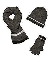 W&B Stripe Hat Scarf and Glove Set