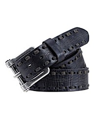 Souled Out Black Stitch Leather Belt