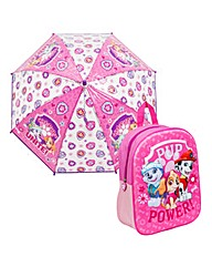 Paw Patrol Girls Backpack and Umbrella
