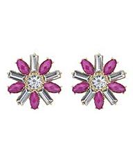 Mood Pink crystal flower stud earring