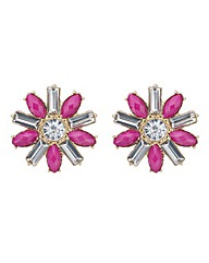 Mood Pink crystal flower stud earring