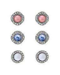 Mood Crystal stone stud earring set