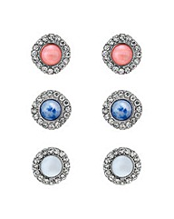 Mood Crystal stone stud earring set