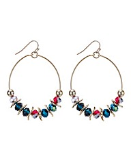 Mood Mixed beaded hoop drop earring