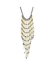Mood Gold tube fringed long necklace