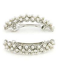Mood Diamante pearl barrette hair clip