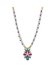 Mood Woven crystal flower necklace