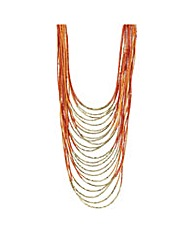 Mood Orange beaded collar long necklace