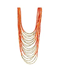 Mood Orange beaded collar long necklace