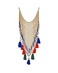 Mood Fringed tassel collar necklace