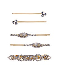 Mood Diamante gold mixed hair slide pack