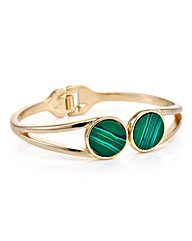 Mood Open hinge green stone cuff