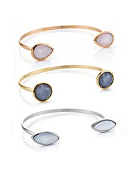 Mood Multi tone stone bangle set