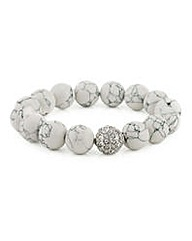 Mood Marble ball pave stretch bracelet