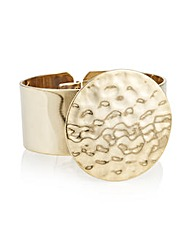 Mood Gold hammered disc cuff bracelet