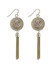 Mood Gold caged tassel drop earrings