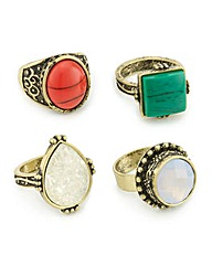 Mood Tribal stone multi ring pack