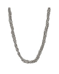 Mood Silver bead plaited twist necklace