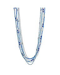Mood Blue beaded multi row long necklace