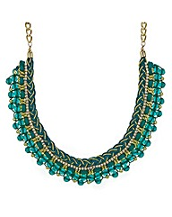 Mood Green plait beaded collar necklace