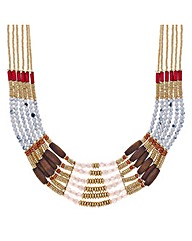 Mood Multi row tonal beaded bib necklace