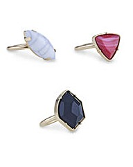 Mood Semi precious set of 3 ring pack