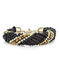 Mood Jet gold twisted tube bracelet
